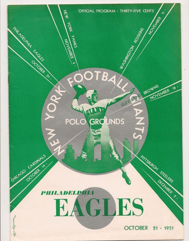 1951 New York Giants-Eagles Program Giants Eke Out Win GEM!!