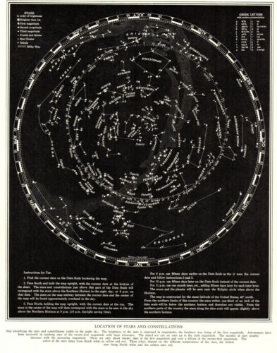 1935 Antique Constellation Map Star Map Vintage Astronomy Zodiac Print 8279