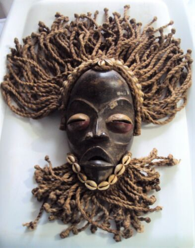 Large Vintage DAN GUNYEGE RACING Mask with RAFFIA COWRIE African Carving!!