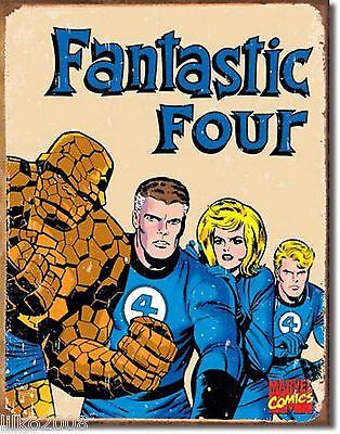 FANTASTIC FOUR RETRO;ANTIQUE-STYLE METAL WALL SIGN 40X30cm, MARVEL COMICS HEROES