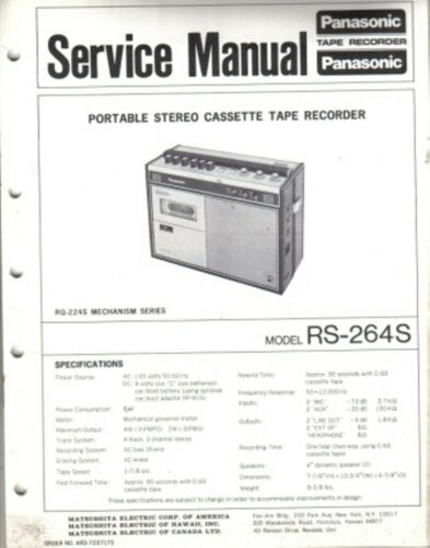 PANASONIC SERVICE MANUAL FOR  RS-264S