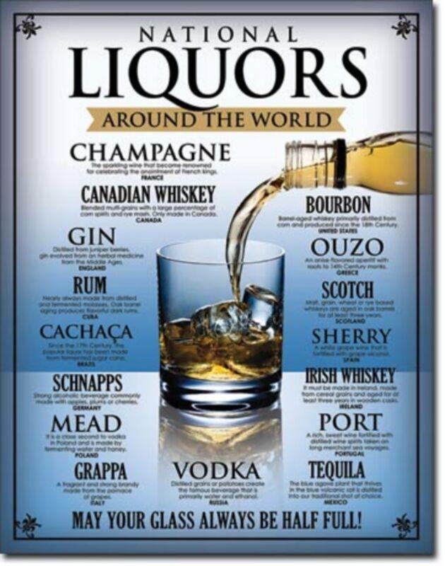 National Liquors Around the World Whiskey Gin Rum Port Metal Sign Tin New #2099