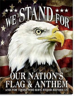 (Stand Flag Anthem USA Metal Sign Patriotic Proud American Eagle Wall Decor Gift)