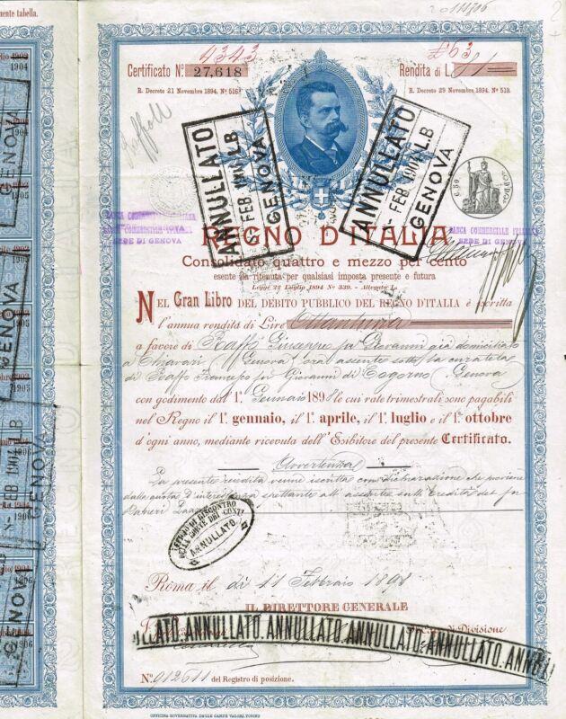 KINGDOM OF ITALY PUBLIC DEBT BOND stock certificate 1898
