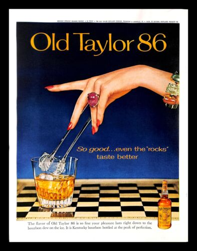1962 Old Taylor 86 Bourbon Vintage PRINT AD Ice Jewelry Woman Hand Alcohol