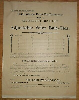 1902 Advertising Sales Sheet Kansas City Missouri Laidlaw Bale Tie Company Wire - Party City Sale