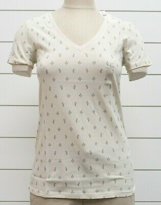 NWT Womens GAP Favorite V-Neck T-Shirt Ivory Frost Cactus Print - 889142