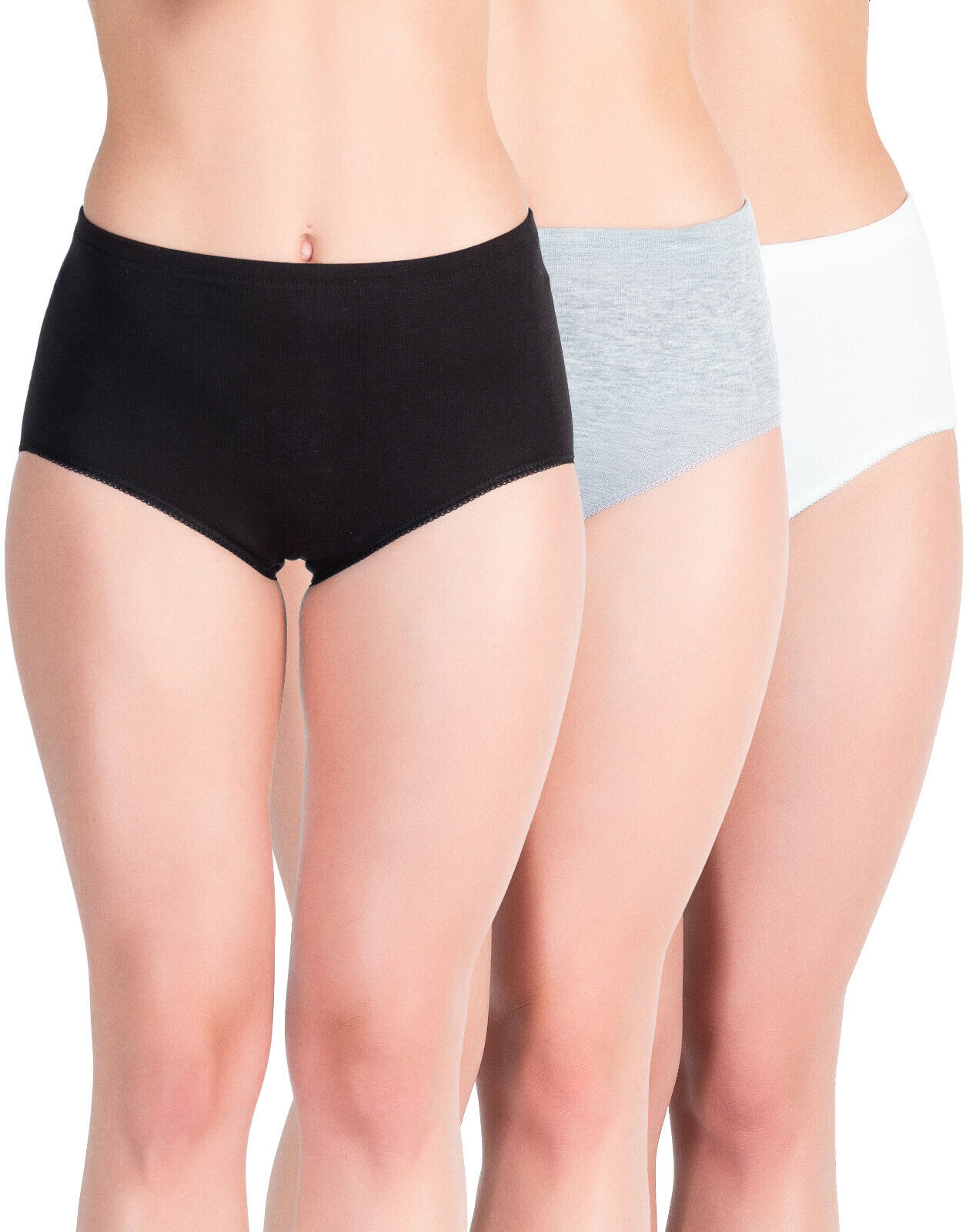 6er Set Damen Taillen-Slips Maxislip Unterhosen Baumwolle Hohe Taille
