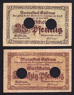 Güstrow -Stadt- 25 Pf. und 50 Pf. vom 4.12.1918 (entwertet)