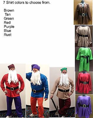 Elf Dwarf Shirt & Belt Costume ~ 7 COLORS ~ Deluxe OR Standard  (7 Dwarfs Costumes)