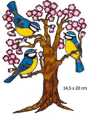 Window Color Fensterbild +++Meisen auf Baum+++