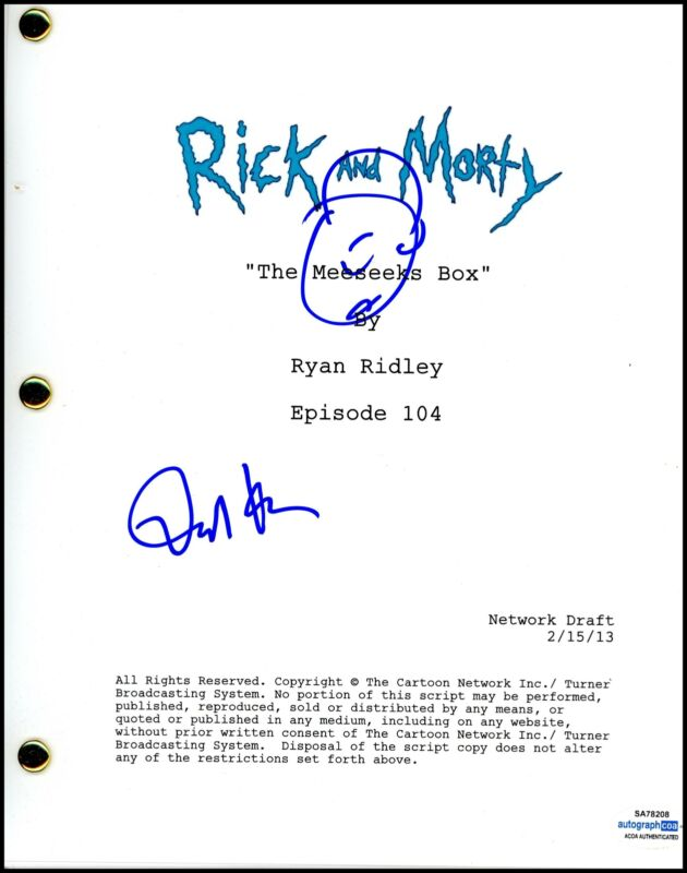 "Dan Harmon ""Rick and Morty"" AUTOGRAPH Signed Full Complete Episode Script ACOA"