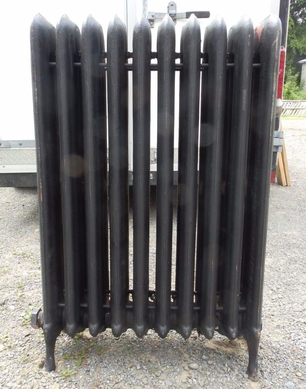 Antique Steam Radiator 10 Sections Cast Iron Old Plumbing Heating 2333-16 (1)