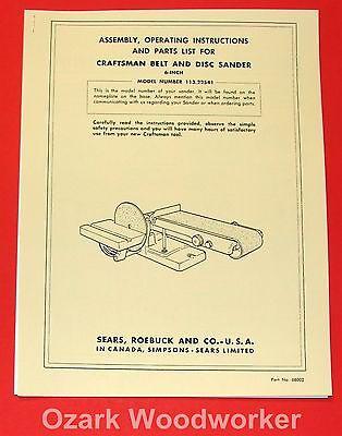 Craftsman 6 Belt Disc Sander 113.22541 Owners Parts Manual 1042
