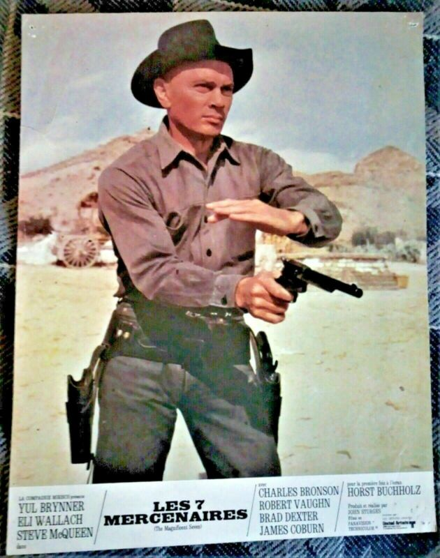 1961 - the 7 MERCENARIES - 2 Color Posters YUL BRYNNER & ELI WALLACH Band