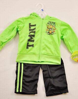 toddlers boys Mutanr Ninja 2 piece play suit size 2T blac/green long sleeve hood - Green Ninja Suit