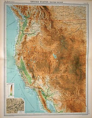 1920 LARGE MAP ~ UNITED STATES ~ WESTERN SECTION ~ YOSEMITE VALLEY ~ 23