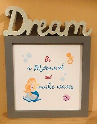 Mermaid Quote Picture, print for kids bedroom, gift, present, Christmas - Mermaid Gifts For Kids