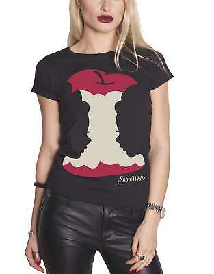Official Womens Black Snow White T Shirt Apple silhouette logo new Skinny Fit