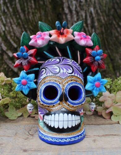 Frida Kahlo Sugar Skull Day of the Dead Handmade Hand Painted Mexican Folk Art