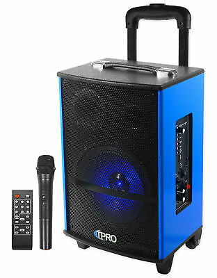 Technical Pro Wasp810u Rechargeable Bluetooth Karaoke Machine System W Leds Mic