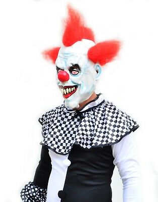 Scary Halloween Black & White Adult Mens Killer Clown Costume & Mask - RED HAIR - Black And White Scary Clown
