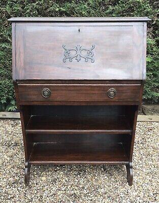 Vintage solid oak slimline student bureau, lockable with key