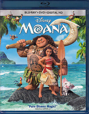 Moana  Blu Ray Dvd  2017  2 Disc Set  Vg
