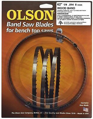 """Olson Band Saw Blade 62"""" inch x 1/4"""", 8 TPI Ryobi BS904G, Sk"""