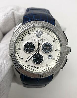 Versace Medusa Chronograph White Dial Blue Leather Men's Watch VN4061402730290
