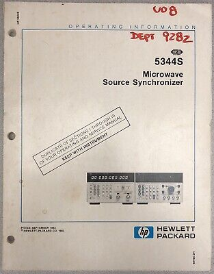 Hp 5344s Microwave Source Synchronizer Operating Information Manual