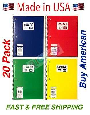 (Spiral Notebook Wide Ruled 1 Subject 70 Sheets Spiral Notebooks LOT OF 20 USA )