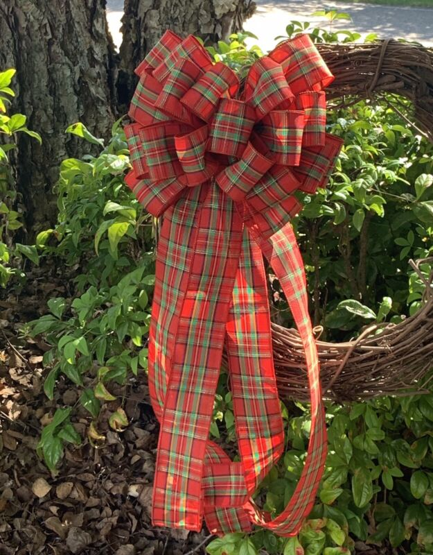 Classic Plaid Handmade Christmas Bow for Wreath Lanterns Swags Decoration Accent