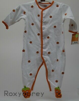 Halloween Infant Carter's White Orange Pumpkin Sleeper Size 3 months 8-12 lbs (Baby Halloween Costumes Carters)