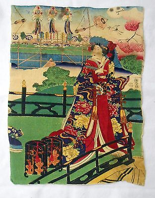 Rare Japanese Wood Block Paint On Cloth Antique All Original
