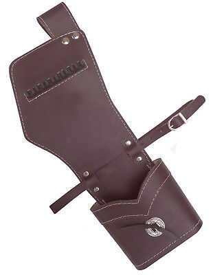 TRADITIONAL ARCHERY FINISHED LEATHER SIDE HIP ARROW QUIVER  HL#159F BROWN R/H. Archery Hip Quivers