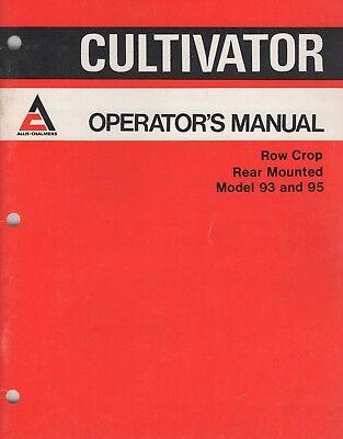 1976 Allis-chalmers Cultivator Row Crop 93 95 Operators Manual 584860 732