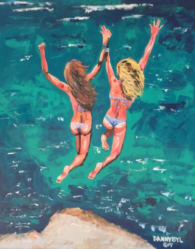Beach Babes Original Cliff Jumping Art Painting Dan Byl Contemporary Modern 4x5