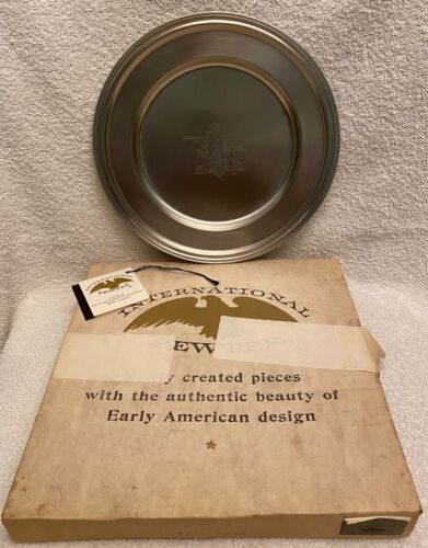 International Pewter Anheuser Busch Pewter Plate Eagle Budweiser NOS With Box