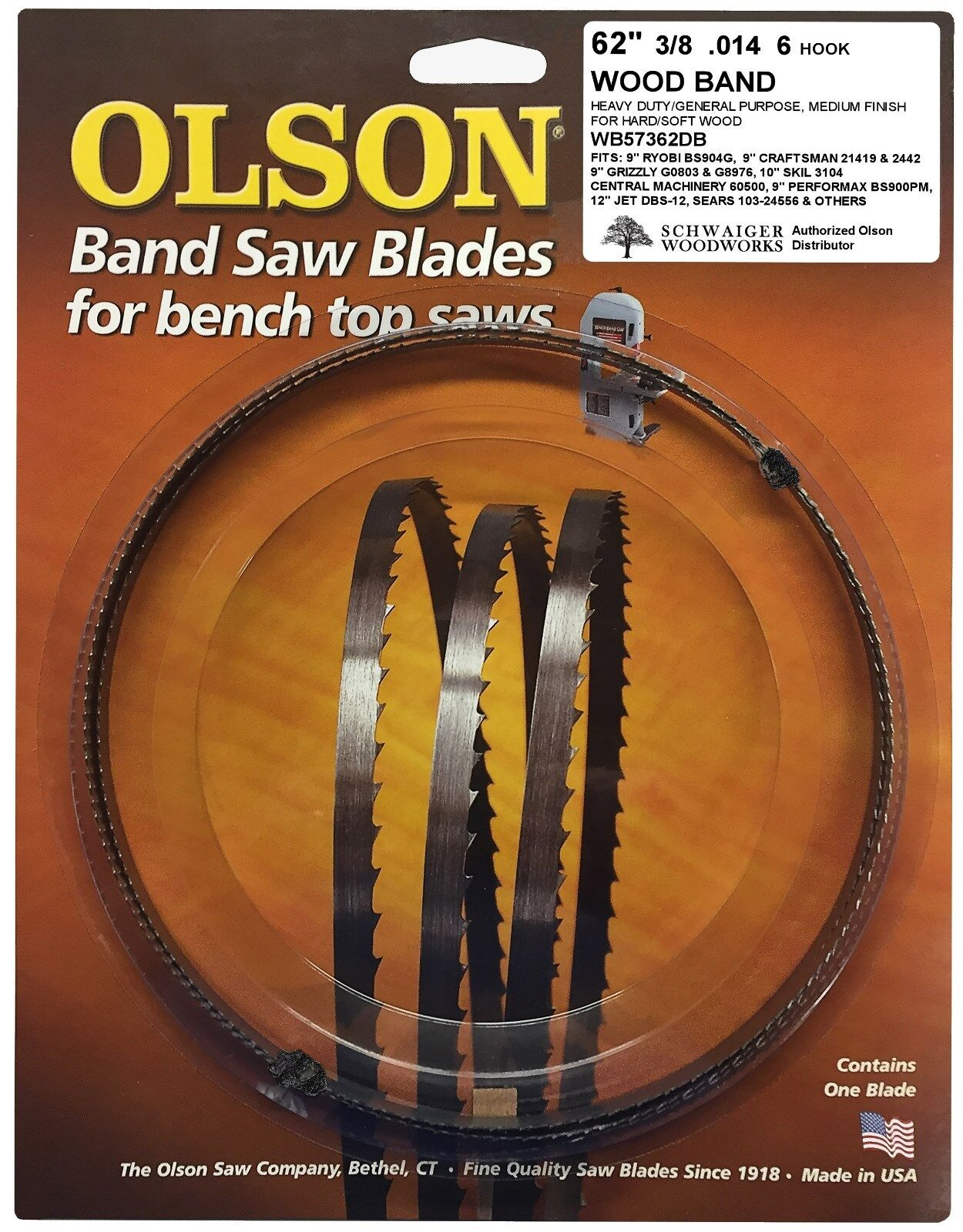 """Olson Band Saw Blade 62"""" x 3/8"""", 6 TPI for Craftsman 21419,"""