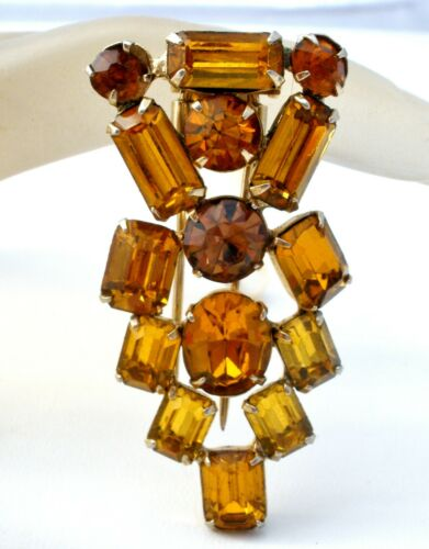 Art Deco Fur Clip Amber Gold & Brown Rhinestones Vintage Jewelry Gold Tone W