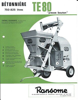 Equipment Brochure - Ransome Te 80 Betonniere Cement Mixer French Lang E4475