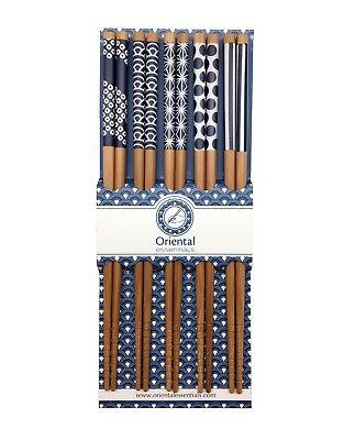 5 Paar Essstäbchen BLAU MOTIV Chinesische Stäbchen Chopsticks Set Sushi 6006201 Stäbchen