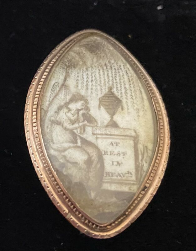 Antique Gold Mourning Brooch Miniature Painting tombstone Feb 28, 1778