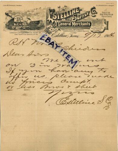 1904 LETTERHEAD Estelline Texas CATTLE agriculture JOHN SPRINGER E L Biggerstaff