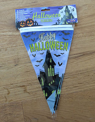 Halloween Wimpelkette Spukschloss 15 Fahnen Girlande gruselige Party - Gruseliges Happy Halloween Banner