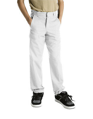 Dickies Boys White Pants Flat Front Classic Fit School Uniform Sizes 8 to 20