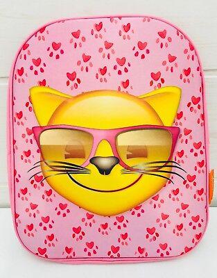 Kinder Rucksack Tasche Kindergarten rosa emoji 3D Katze cool Mädchen 3+