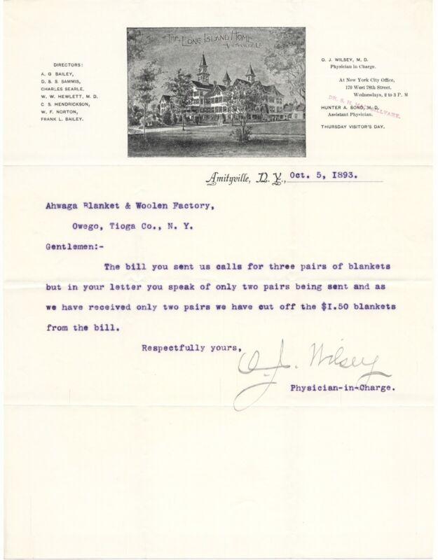 1893 LONG ISLAND HOME SANITARIUM HOSPITAL LETTERHEAD AMITYVILLE NY INSTITUTION