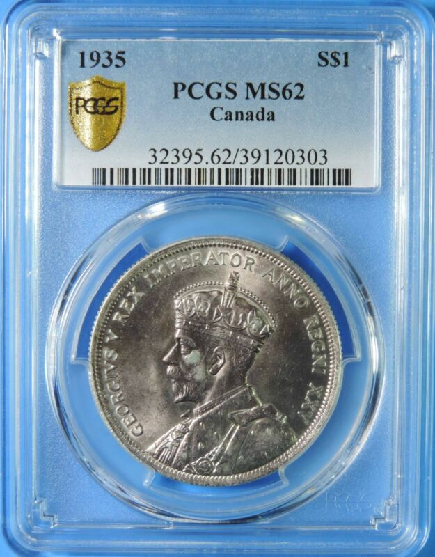 1935 Canada George V One Dollar $1 Silver Coin PCGS Graded MS62 UNC Uncirculated